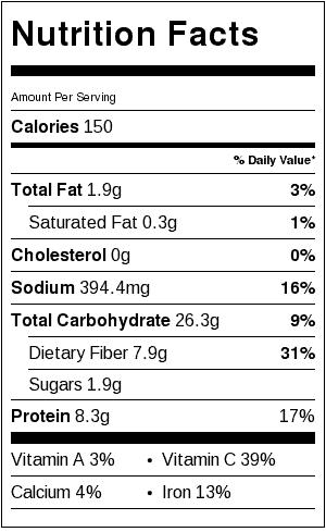 Quinoa and Black Bean Salad Nutrition Label. Each serving is about 1/2 cup.