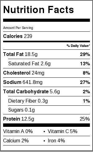 Sautéed Scallops Nutrition Label. Each serving is 4 scallops.