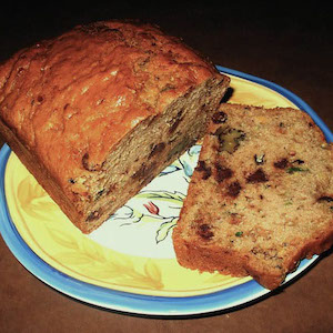 Chocolate Chips & walnuts make this Chocolate Chip Zucchini Bread delicious.