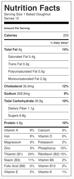 Baked Doughnuts Nutrition Label. Each serving is one doughnut.