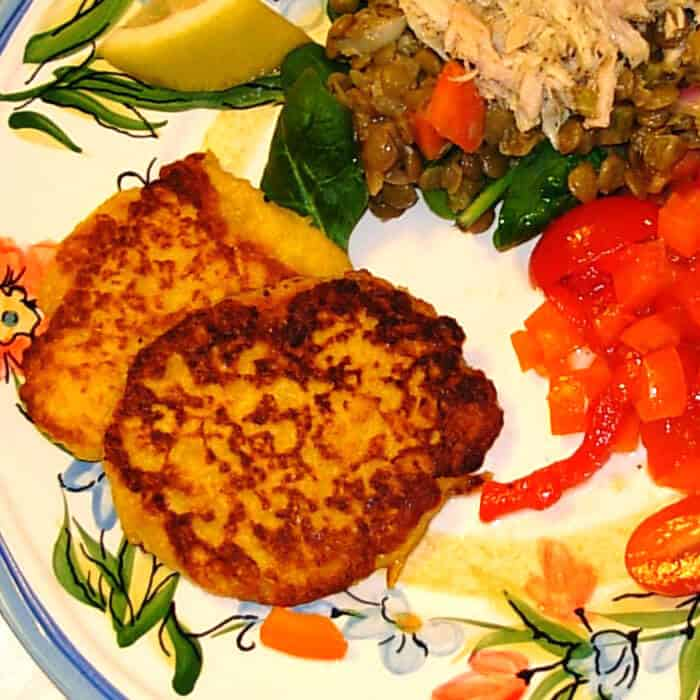 Corn Pancakes, French recipe for supper pancakes using whole kernel corn