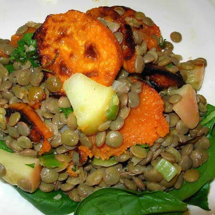 Doesn't this Lentil Sweet Potato Salad look great? Eat it warm or cold.