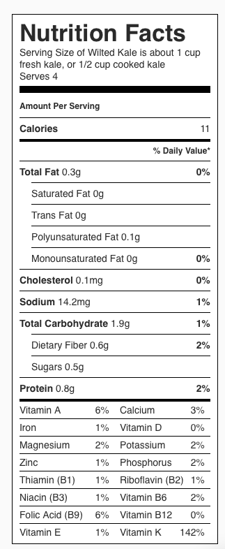 Nutrition Label for Wilted Kale. Each serving is about 1/2 cup cooked kale.
