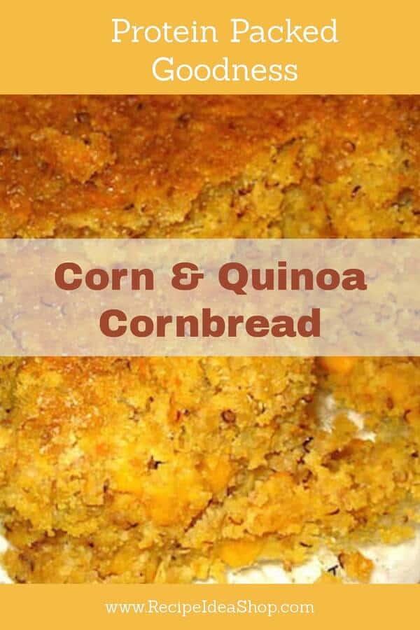 What's better than cornbread? Corn & Quinoa Cornbread. High protein, moist, amazing. #cornandquinoacornbread; #cornbreadrecipe; #quinoa; #quinoarecipes; #recipes; #recipeideashop