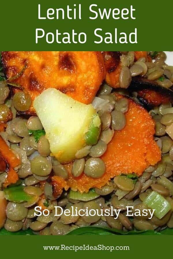 Lentil Sweet Potato Salad. French lentils, roasted sweet potatoes. So amazing. #lentilsweetpotatotsalad #lentilrecipes #sweetpotato #glutenfree #salads #recipes #recipeideashop
