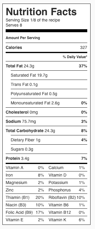 Pizza Dough Nutrition Label. Each serving is 1/8 the pie (with NO TOPPINGS).