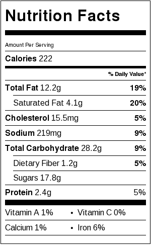 The Best Chocolate Chip Cookies (not gluten free) Nutrition Label. Each serving is one cookie.