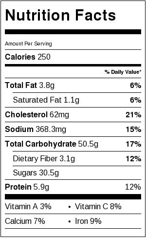Chocolate Zucchini Cake Nutrition Label (Shown with Ganache and Whipped Cream)