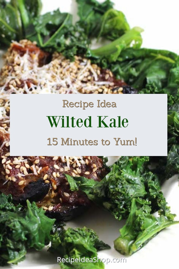 Wilted Kale. 4 ingredients (including water), 15 minutes. SO delicious! #wiltedkale #sauteedkale #kale #quickmeals #easyrecipes #recipes #glutenfree #recipeideashop