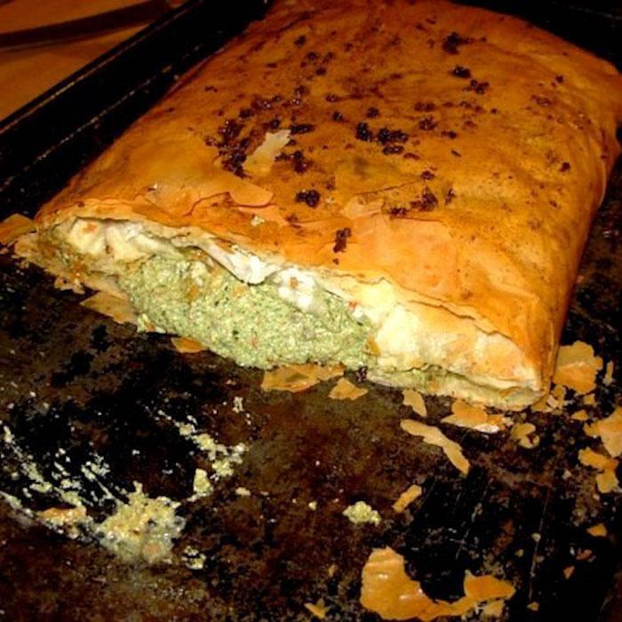 Mushroom Strudel is a phyllo-wrapped vegetarian main dish.