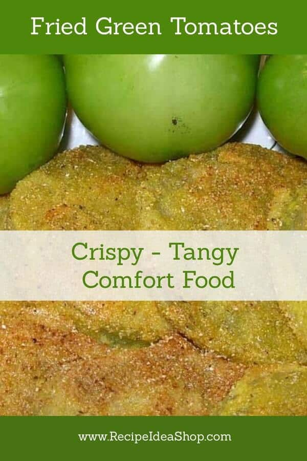Fried Green Tomatoes, not just at the Whistle Stop Cafe anymore. Make 'em at home. Easy. #firedgreentomatoes #tomatoes #tomatorecipes #recipes #southernrecipes #comfortfood #recipeideashop
