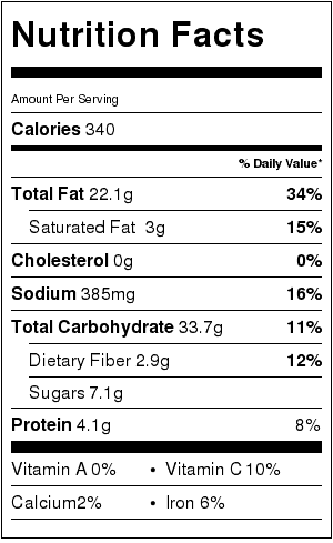 Brown Rice Salad with Cranberries and Walnuts Nutrition Label. Each serving is about 1/2 cup.