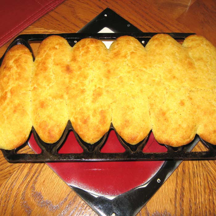 Muffins made in a cornpone pan are the best cornmeal muffins!