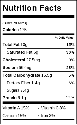 White Gravy With Peas Nutrition Label. Each serving is about 1/4 cup.