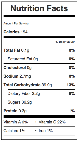 Jellied Cranberry Sauce Nutrition Label. Makes about 2 cups. Each serving is about 1/4 cup.