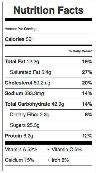 Libby's Pumpkin Pie Nutrition Label. Each serving is 1/8 pie.
