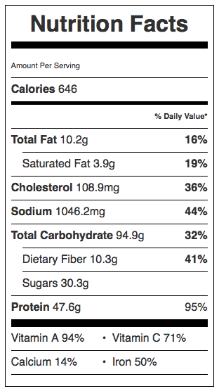 Winter Pot Roast Nutrition Label. Each serving is about 6 oz of meat.