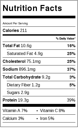 Kielbasa in Onion Gravy Nutrition Label. Each serving is about 1-1/2 cups.