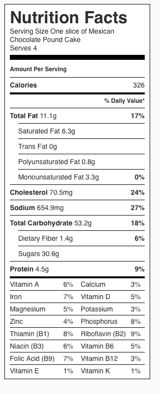 Mexican Chocolate Pound Cake Nutrition Label. Each serving is 1/4 (one slice) of a mini loaf.