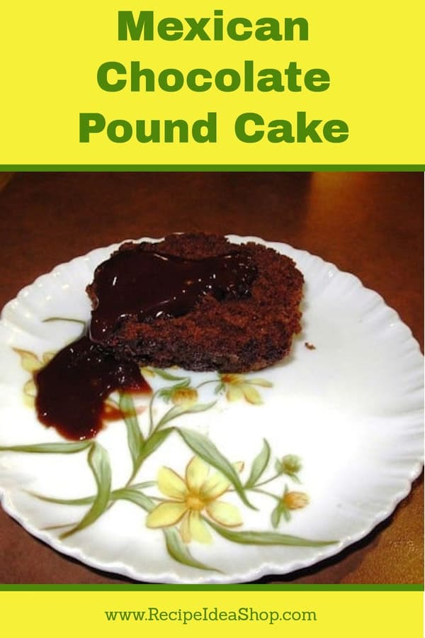 Delicious, moist Mexican Chocolate Pound Cake. #MexicanChocolatePoundCake; #cakerecipes; #glutenfree; #recipes; #recipeideashop
