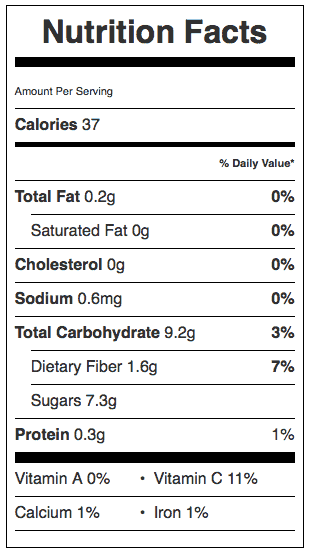 Raspberry Sauce Nutrition label. Each serving is 1/8 a cup.