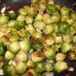 Brussels Sprouts Almandine. Yum!