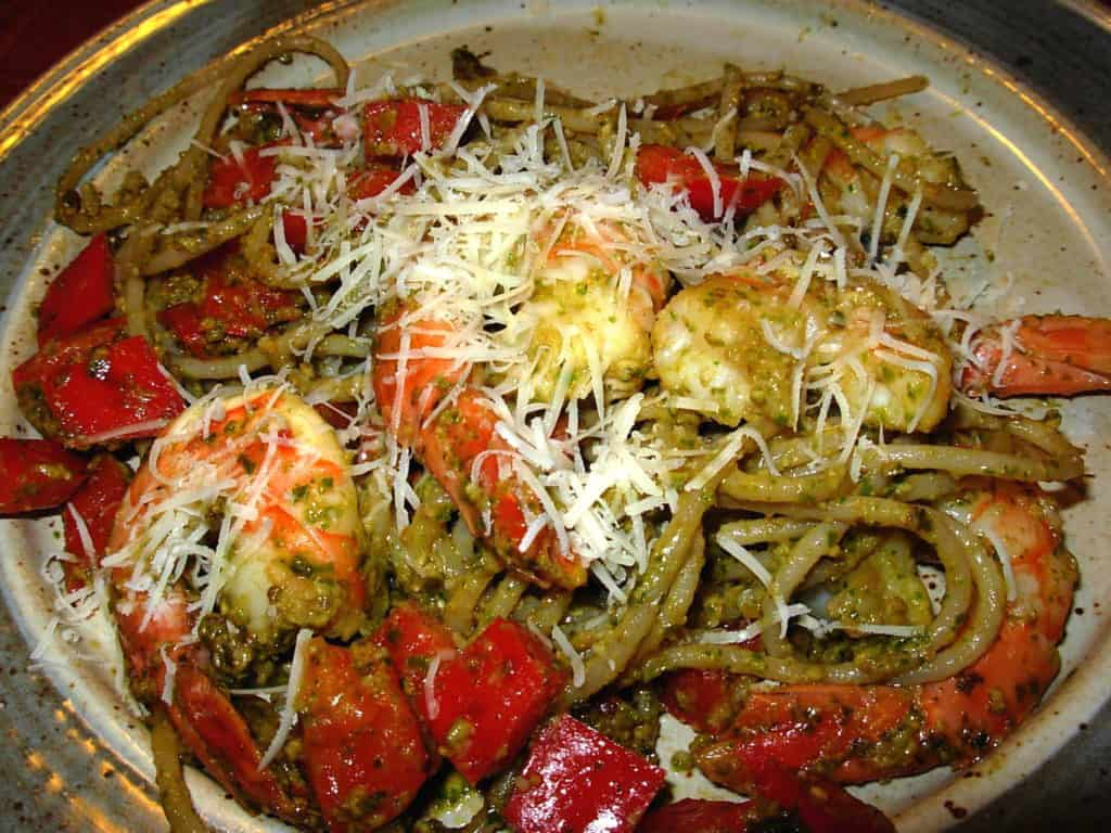 Pesto Pasta Shrimp with Parmesan Cheese. Yum!