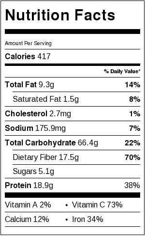 Vegan Louisiana Red Beans and Rice Nutrition Label (includes 1/2 cup rice per serving). Serving size is about 1 cup beans mixture and 1/2 cup brown rice.