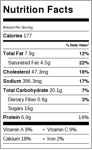 Original Cheesy Potatoes Casserole Nutrition Label using Cheddar Cheese and eliminating the broccoli and red pepper. Each serving is about 3/4 cup.