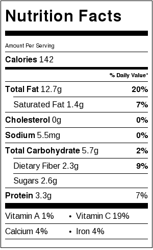 Zucchini, Caramelized Onions & Toasted Almonds Nutrition Label. Each serving is about 3/4 cup.