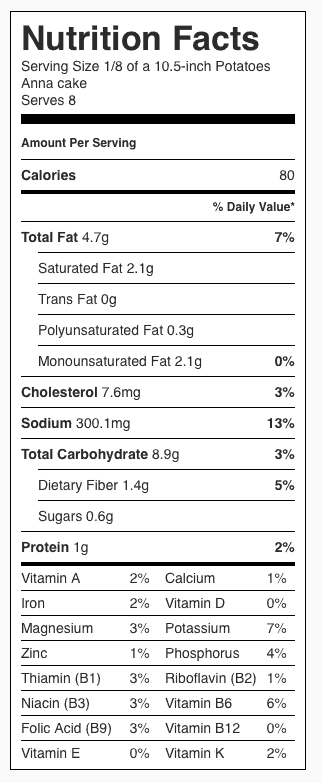 "Potatoes Anna Recipe Nutrition Label. Each serving is about 1/8 the ""pie."""