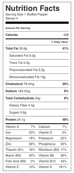 Stuffed Peppers Nutrition Label. Each serving is one stuffed pepper (label is per serving).