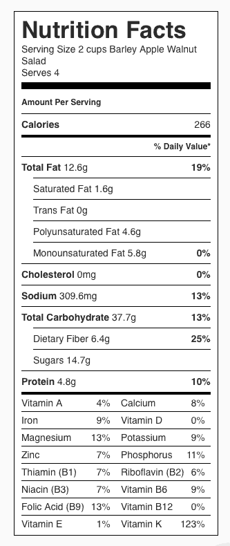 Barley Apple Walnut Salad nutrition label. Each serving is about 2 cups.