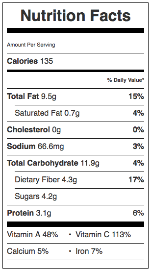 Brussels Sprouts & Carrots in a Vinaigrette Nutrition Label. Each serving is about 1/2 cup.