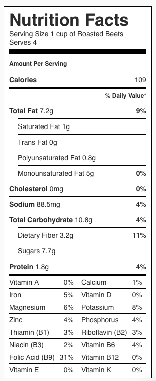 Roasted Beets Nutrition Label. Each serving is about 1/4 pound (about a cup).