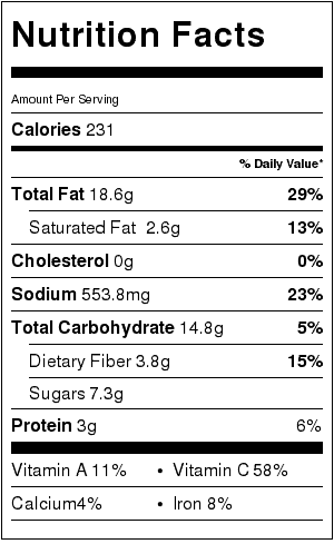 Moosewood's Louisiana Black Eyed Pea Salad Nutrition Label. Each serving is about 3/4 cup.
