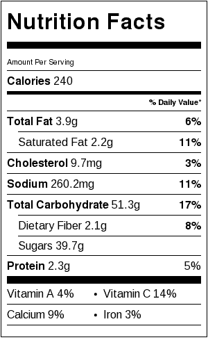 Recipe Nutrition Label. Each serving is 1/8 pie.