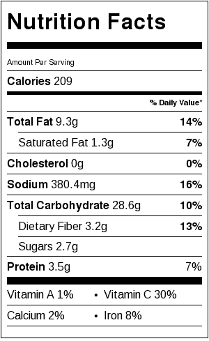 French Potato Salad Nutrition Label. Each serving is about 1 cup.