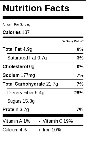 Roasted Beets Nutrition Label. Each serving is 1/2 pound.