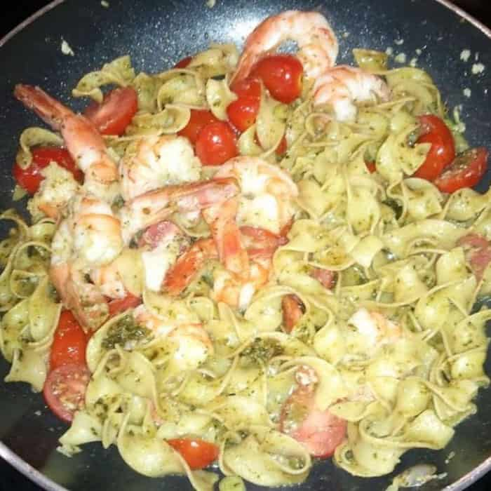 You will love this simple 20-minute Shrimp with Pesto Pasta.
