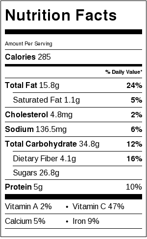 Christmas Eve Salad Nutrition Label. Each serving is about 3/4 cup.
