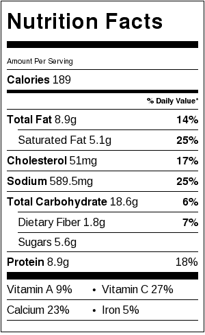 Hash Brown Potatoes Casserole Nutrition Label. Each serving is about 1 cup.
