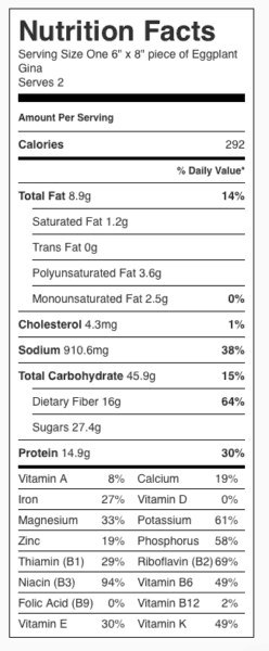 Eggplant Gina Nutrition Label. Each serving is one-half of the recipe.