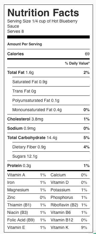 Hot Blueberry Sauce Nutrition Label. Each serving is about 1/4 cup.