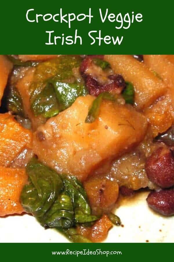 Crockpot Veggie Irish Stew, slow cooker deliciousness. Hearty. Flavorful. Easy. 20 minutes active. #crockpotveggieirishstew; #irishstewrecipe; #vegetarianrecipes; #veganrecipes; #irishrecipes; #slowcooker; #slowcookerrecipes; #recipes; #recipeideashop