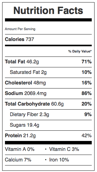 Fried Chicken Tenders Nutrition Label. Each serving is 2 tenders.