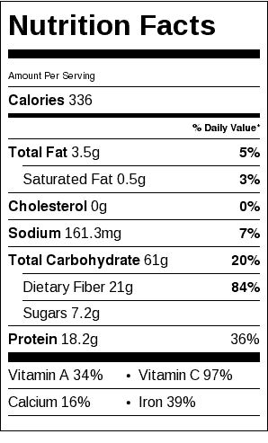 White Bean and Barley Stew Nutrition Label. Each serving is about 1 cup.