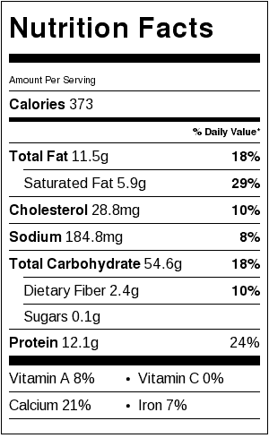 Brown Rice and Cheese Nutrition Label. If you serve 1/2 cup of brown rice and 1/4 cup shredded cheddar cheese with the Vegan Brunswick Stew, add the nutrition of the two labels together for a complete view of nutrition.