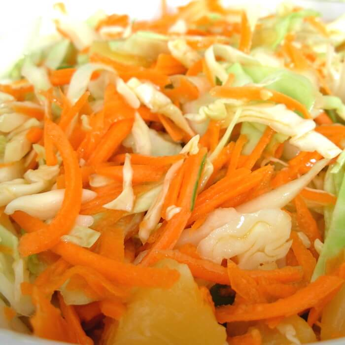 Cabbage Pineapple Coleslaw is a Moosewood recipe.