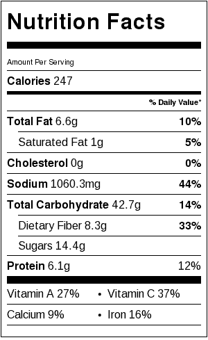 Vegan Brunswick Stew Nutrition Label. Each serving is about 1-1/2 cups. Rice & cheese nutrition listed separately.